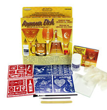 ARMOUR Deluxe GLASS ETCHING Kit Permanent Designs CREAM STENCILS Made in USA