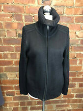 Marks and Spencer Chunky Black Zip Up Cardigan Size 16 Winter Cosy Layer Casual