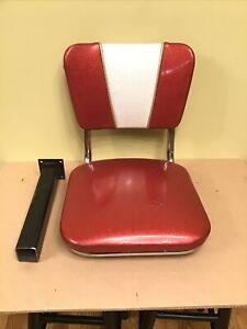 VTG Authentic McDonalds Metal Flake Swivel Chair Retro Stool Bench Seat Burgundy