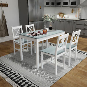 Solid Wooden Dining Table and 4 Chairs Set 5 Piece Home Kitchen Furniture Grey