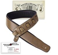 Walker & Williams G-903 Saddle Brown Padded Guitar Strap with Glove Leather Back