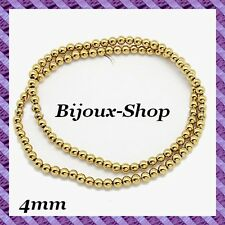 1 Fil de 100 pcs Perles Hématite (Non Magnétique) 4mm coloris doré