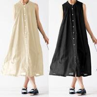 Damen Sommer Kleid Maxikleid A-Linie Baumwolle Linen Träger Ärmellos Hemdkleid