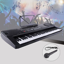 Portable Music Digital Electric Piano Organ Keyboard 61 Key w/Microphone Black