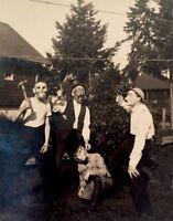 Awesome Vintage Creepy Vintage Halloween Masked Boys Photo Rppc Postcard