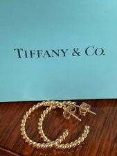 Tiffany & Co 18K Yellow Gold Twisted Wire Cable Open Hoop Earrings