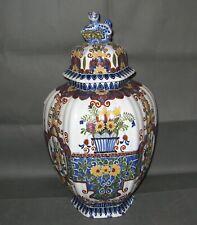 2754* potiche vase gaudronné en faience de delfts hauteur 45 cm