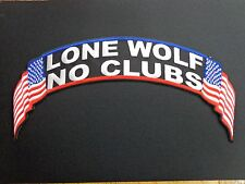 LONE WOLF NO CLUBS EMBROIDERED PATCH TOP ROCKER USA AMERICAN FLAG