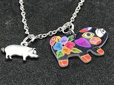 """Pig Double-Sided Art Charm Tibetan Silver 18"""" Necklace D71"""