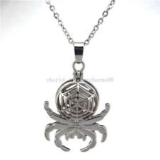 """K130 Silver Magnetic Round Web Spider Pearl Cage Necklace Stainless Chain 18"""""""