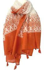 Orange Scarf Ladies Cotton Tassel Trim Tassels Festival Wrap Large Shawl
