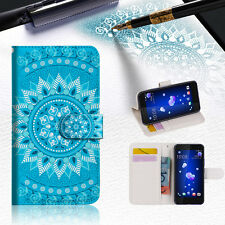 Blue AZTEC TRIBAL Wallet TPU Case Cover For HTC U11 -- A001