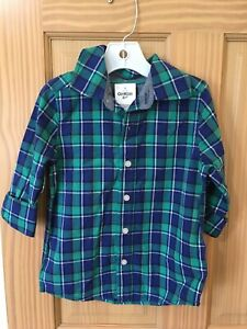New Oshkosh Plaid Boys Shirt Top Button Down Green and Navy Blue