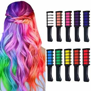 10 Colors Hair Chalk Comb Safe Temporary Washable For Girls Kids Party Cosplay