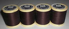 Vtg Dollfus Mieg DMC Brilliante D'Alsace Embroidery Thread 938 Brown 4 Spools