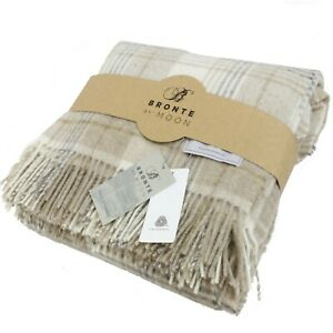 Bronte By Abraham Moon Cranbourne Check Natural 100% Wool Throw Blanket