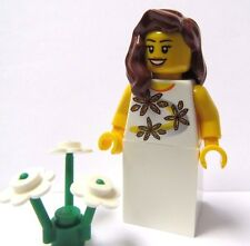 Lego Female Girl Minifigure Bride Maid Brown Wavy Hair Wedding Flower