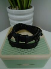 BNWT Fossil Black Leather Double Cuff Bracelet with Gift Tin