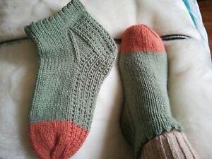 Ladies Handmade Knitted short socks with pattern Size 5-6(EU 38-39) light green