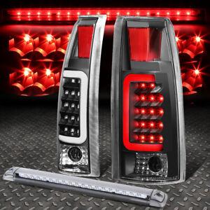 BLACK HOUSING CLEAR 3D LED TAIL+CHROME 3RD BRAKE LIGHT FOR 92-00 SUBURBAN/TAHOE
