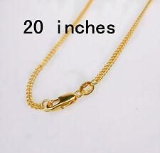 "20"" 1PCS Wholesale  Jewelry 18K Gold Filled Flat Curb Necklaces Chains Pendants"