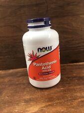 Now Foods PANTOTHENIC ACID 500mg, 250 caps Vitamin B Complex, B5 IMMUNE SUPPORT