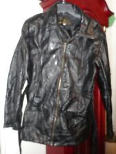 XL Mens Leather & Soul Jacket Coat Black Pieced Belt Lined Zip Fitted Unisex