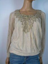 Chelsea & Violet Gold Ivory Metallic Ribbon Blouson Sweater Top XS 0 2 NEW C363