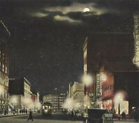 Syracuse NY Salina Street at Jefferson Night View Postcard c1911