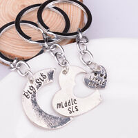 3PC Big Middle Little Sister Family Key Chain Ring Friend Keychain Keyring Gifts