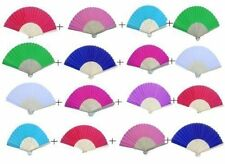 Wholesale Pack of Six Mixed Colour Silk Bamboo Ribs Hand Fans