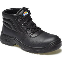 MENS DICKIES REDLAND SAFETY WORK BOOTS SIZE UK 3 - 14 FA23330 BLACK LEATHER