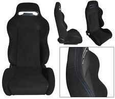 2 Black Cloth + Blue Stitching Racing Seats RECLINABLE W/ SLIDER ALL BMW **
