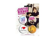 Blister 4 Badges Justin Bieber Officiels Justin Bieber official badge pack