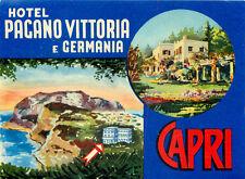 CAPRI ITALY HOTEL PAGANO VITTORIA E GERMANIA OLD LUGGAGE LABEL