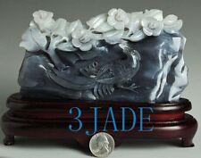 Natural Hetian Nephrite Jade Bird Flower Carving / Sculpture /Art w/ certificate