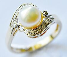CULTURED PEARL RING 10 GENUINE DIAMONDS 9K 375 GOLD GIFT BOXED SIZE M NEW