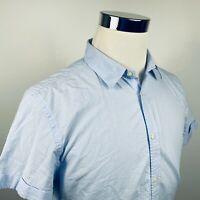 Scotch & Soda Mens Large Slim Fit Gingham Shirt Blue White Check Puckered Cotton