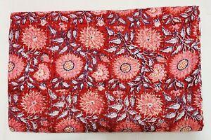 Indian Cotton Hand Block Print Bedspread Kantha Quilt Throw Coverlet Queen Size