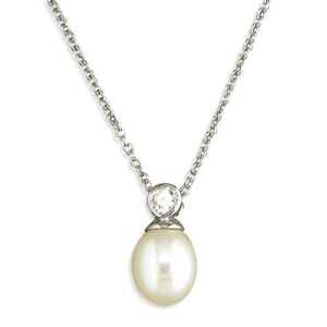 Freshwater Pearl & Cubic Zirconia Pendant Chain Necklace Sterling Silver