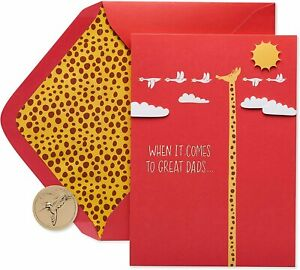 PAPYRUS Father's Day Card -Tri Fold-Out Tall Giraffe - Great Dads, Way Up  There