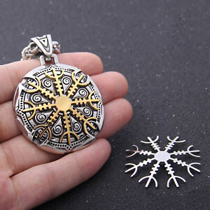 Viking Helm Of Awe Medallion Pendant Necklace Celtic Rune Silver Gold Color Gift