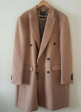Topman Men Camel Double Breasted Coat With Wool UK Size XXL