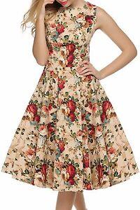 ACEVOG Womens Retro Vintage 1950s High West Swing Dress Casual Smart Dresses