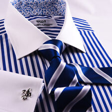 Unique Navy Blue Stripe With Floral InnerLining Business Shirt Boss Mens Formal