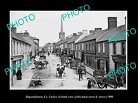 OLD LARGE HISTORIC PHOTO OF BAGENALSTOWN IRELAND, THE MAIN ST & STORES c1900
