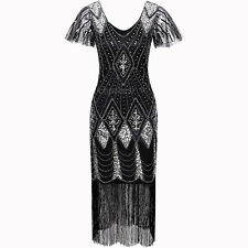 Black 1920s Flapper Dress Gatsby 20's Evening Gowns Party Cocktail Prom Costumes