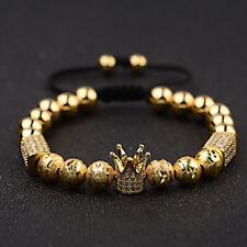 Luxury Men's Micro Pave CZ Crown Braided Adjustable Exquisite zircon Bracelets