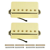 FLEOR Set of Gold Alnico 5 Humbucker Guitar Neck + Bridge Pickup for LP Guitar