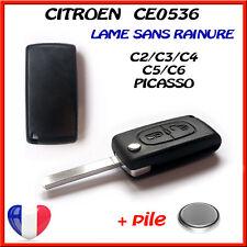 Coque PLIP Télécommande Clé CITROEN C2/C3/C4/C5/C6 2 BOUTONS CE0536 sans rainure